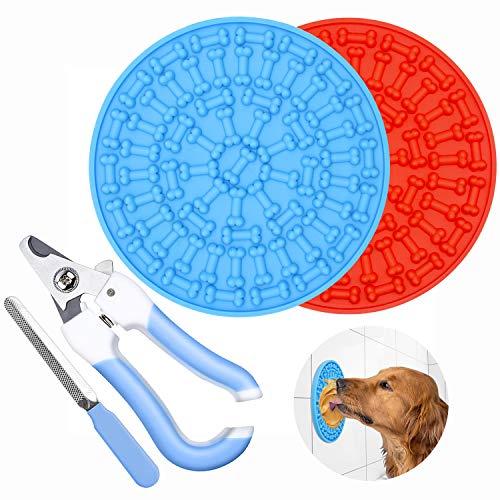 2 unidades de alfombrilla para la lamida de perro con mantequilla de cacahuete para lamer la mantequilla de maní, alimentador lento con succión superfuerte, dispositivo de...