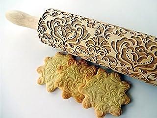 Nudelholz DAMASK für hausgemachtes Gebäck. Teigrolle mit Oriental Blume von Algis Crafts