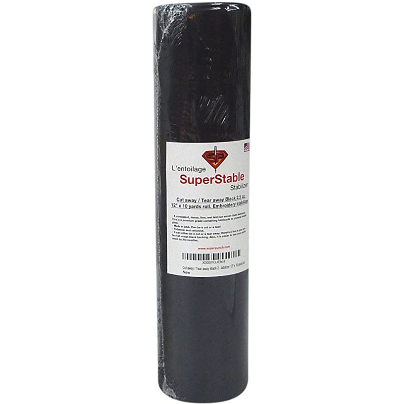 Cut Away/Tear Away Stabilizer Black 2.5 oz 12 inch x 10 Yard Roll. SuperStable Embroidery Stabilizer Backing
