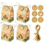 Unkonw 12 unids/set caja de regalo de papel kraft DIY galletas bolsa de caramelo con etiquetas de feliz cumpleaños dibujos animados animales Navidad fiesta suministros