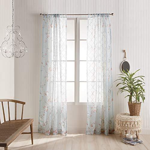 "Peri Home Kara Sheer Floral Rod Pocket Window Curtain Single Panel, 84"", Blush"