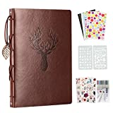 YILEEY Album Photos en Cuir, 28x21cm Traditionnel Vintage Scrapbook 60 Pages Noires Rechargeable Livre d'or, DIY Scrapbooking Set avec Pochoirs Autocollants et Coins Photo, Cerf