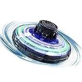 POI Top elettronico di Punta, Percorso Gratis può oscillare l'aeromobile della Generazione di UFO Mini Giocattolo Volante a 360 ° Rotante con Luce a LED Adatta per Bambini e Adulti Regali,Nero