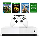 Xbox One S 1TB All-Digital Edition Bundle, Xbox One S 1TB Disc-free Console, Wireless Controller, Download Codes for Minecraft, Sea of Thieves and Fortnite Battle Royale, 3-month Xbox Live Gold Card