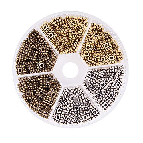 PandaHall Elite 300pcs Perline distanziatore Quadrato di Stili Tibetano in Lega Spacer Beads Perline Accessori componenti per Braccialetti collane Orecchini bigiotteria Fai da Te Oro Argento