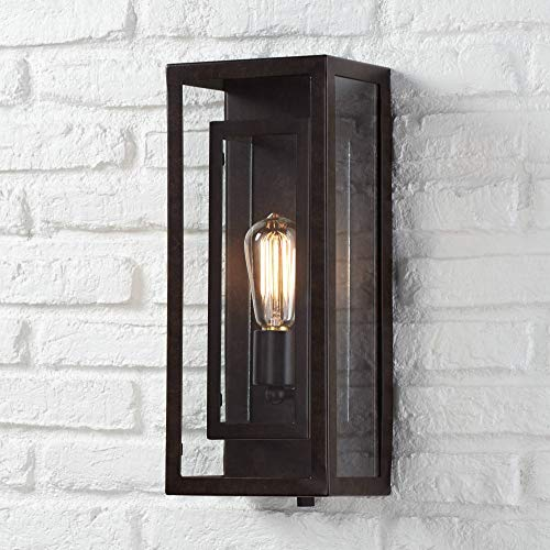 "Modern Outdoor Wall Light Fixture Bronze Double Box 15 1/2"" Clear Glass Exterior House Deck - Possini Euro Design"