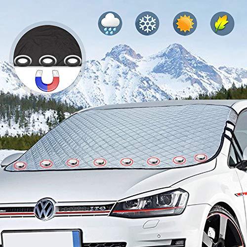 Boomersun Auto Frontscheibenabdeckung Windschutzscheibenabdeckung Magnet Fixierung Faltbare Auto Abdeckung für Windschutzscheibe gegen UV-Strahlung, Sonne, Staub, Schnee, EIS, Frost 186 * 130CM