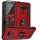 TJS Phone Case Compatible with LG K51, LG Q51, LG Reflect, with [Tempered Glass Screen Protector][Impact Resistant][Defender][Metal Ring][Magnetic Support] Cover (Red)