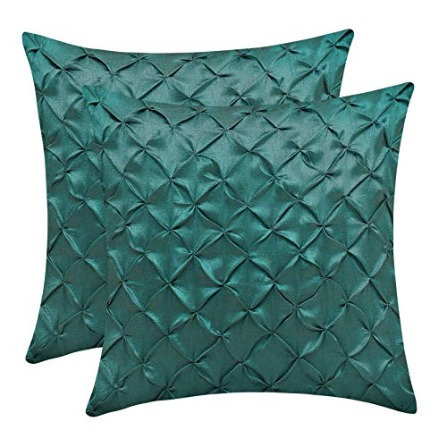 The White Petals Forest Green Decorative Pillow Covers (Faux Silk, Pinch Pleat, 22x22 inch, Pack of 2)