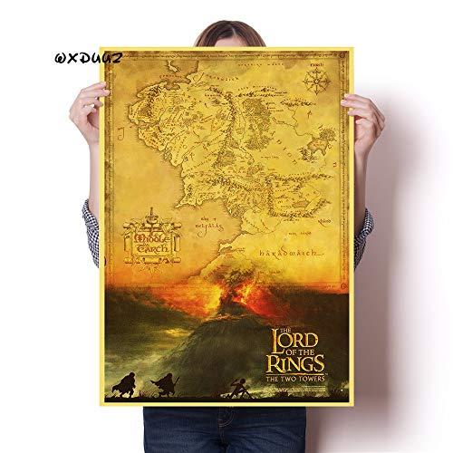 YIYEBAOFU Landkarte in der Familienwand Dekoration Kunst Herr der Ringe altes Retro-Poster Höhe Qualität Leinwand Malerei Home Decor50x75cmKein Rahmen