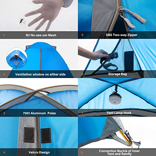 BISINNA 4 Person Camping Tent Lightweight Backpacking Tent Waterproof Windproof Two Doors Easy Setup Double Layer Outdoor Tents for Family Camping Hunting Hiking Mountaineering Travel