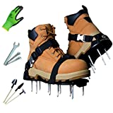Earthgears Lawn Aerator Shoe [2020 Strong-Flex Upgrade] Pre-Assembled, Strong-Flex Sole, E-Z Fit Click-Buckle Strap System, Long 2.4' Spikes w/Garden Gloves, 3 Shovels, Extra Spikes, Aerating Guide