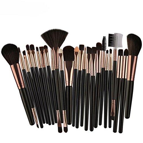 Make-up Pinsel,Binggong 25pcs Kosmetik Make-up Pinsel Rouge Lidschatten Pinsel Set Kit Pinselset Premium Pinselhaare Gesicht Pulver Pinsel (18x14x2cm, Schwarz)