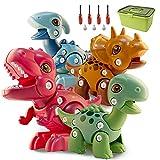 Juego de Juguetes de Montaje de Dinosaurios para Niños, 4 Paquetes de Juguetes de construcción de Dinosaurios con Destornilladores, Regalos de Aprendizaje para niños y niñas de 3 a 8 años