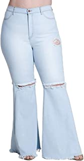 Women's Denim Flare Pants Ripped Hole Classic Stretch Skinny Plus Size Bell Bottom Jean