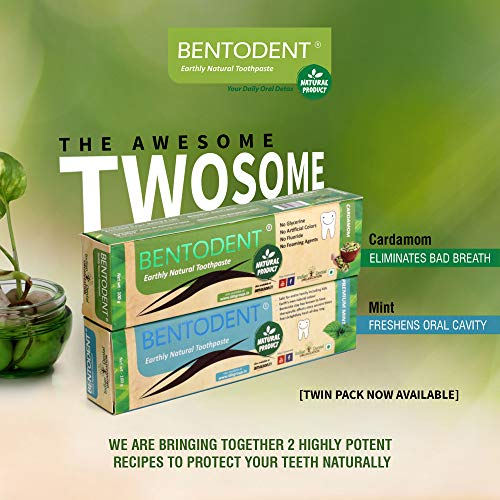 Bentodent Natural Toothpaste for Entire Family Incl Kids | SLS Free, Fluoride Free | Freshens Breath, Helps Reduce Plaque by Brushing |Twin Pack (Premium Mint and Cardamom)