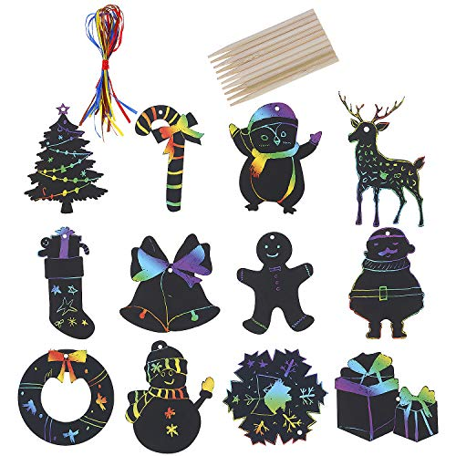 Omigga 72 Sets (12 Styles) ChristmasScratchPaper Scratch Bookmarks Christmas Rainbow ArtScratch Christmas Hanging Ornaments with Satin Ribbons Wooden Stick for Kids DIY Tags