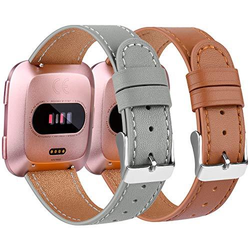 Amzpas Armbänder Kompatibel mit Fitbit Versa 2 Armband/Fitbit Versa Armband, Lederband Ersatzband Modisch Verstellbares für Fitbit Versa & Versa Lite Edition (003 Braun+Grau, One Size)