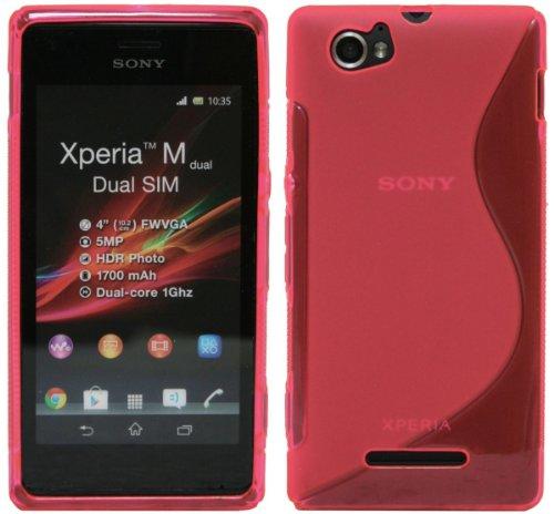 ENERGMiX Silikon Hülle kompatibel mit Sony Xperia M Dual SIM in Pink Rosa