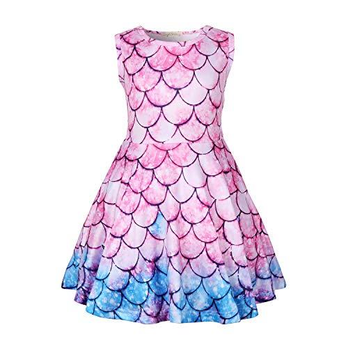LQSZ Camicie da Notte Principessa Camicia da Notte Abito Arricciato a Maniche Corte per 2-8 Anni Regalo per Bambini Rosa Blu