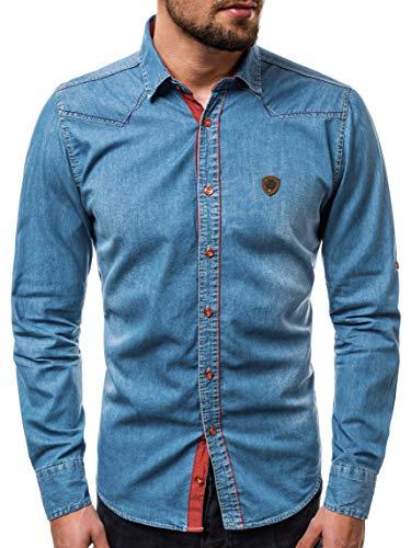 OZONEE Herren Jeanshemd Jeans Hemd Freizeithemd Denim Shirt Langarm Tailored Langarmhemd Langärmliges Regular Fit Freizeit Western ZAZ/1328 BLAU XL
