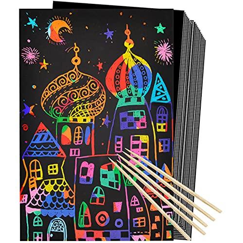 50 hojas de papel de arte para rascar Black Magic Scratch Art Crafts para niños Pintando tableros para manualidades con 5 lápices Kits de dibujo de bricolaje regalo para divertirse