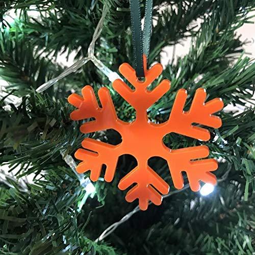 Création de ICY Flocon de Neige Décoration d'arbre de Noël Standard 7cm (Pack of 10) Orange