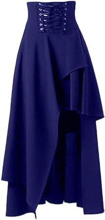 Sopliagon Falda Mujer Gótica Lolita Punk Vintage Gothic Victoriano Cintura Alta Irregular Corta por Delante y Larga por detrás