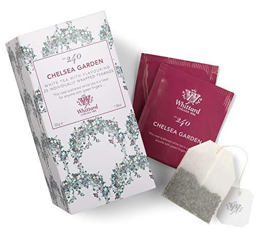 Whittard Chelsea Garden Tè Bianco Aromatizzato ai Petali di Rosa - 1 x 25 Bustine di Tè (50 Grammi)