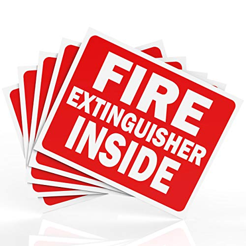 Fire Extinguisher Inside Sticker Sign - Safety Signs - 5 Pack - 4 X 5 - Durable Self Adhesive, Weatherproof & UV Protected - Red / White in Color - Ideal Signs for Trucks, Cabinets or Equipment
