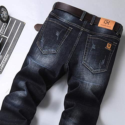 Vaqueros de Moda clásica Nuevos Pantalones Vaqueros Ajustados Negros Vintage De Otoño para Hombre, Estilo Clásico, Panta