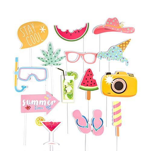 SUNBEAUTY Sommer Fotorequisiten Booth Props Hawaiian Strand Party Foto Requisiten (Summer time 14er Set)