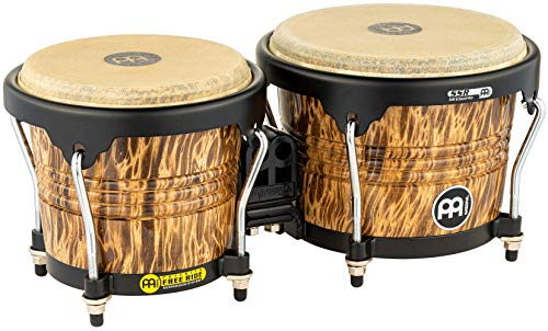 Meinl Percussion Bongos with Rubberwood Stave Shells Free Ride Suspension System and Natural Buffalo Skin Heads, 2-YEAR WARRANTY, Leopard Burl Finish-NOT MADE IN CHINA, (FWB190LB)