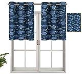 Hiiiman Cenefa corta recta, diseño de hojas de musgo trópicas, juego de 2, 42 x 24 pulgadas para ventanas de cocina