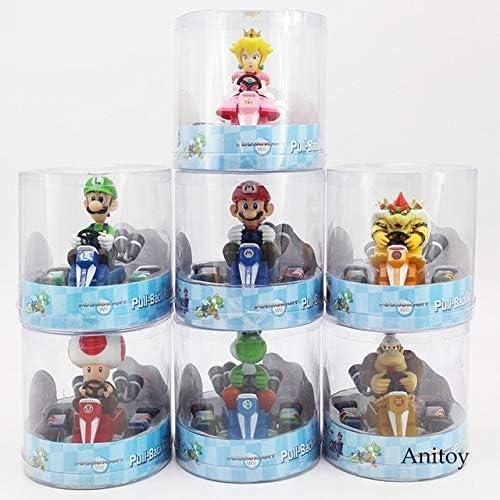 punto de venta Super Super Super Mario Brojohers Mario Luiji Melocotón Bowser Sapo Donkey Kong Yoshi Pull Back Racers Coche PVC Figura de colección Juguetes para Niños, 1 Lote  popular