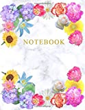 Notebook for Woman: Lined – College Ruled - Blank - Table of Content - Diary, Journal, Composition Book, Doodles, Sketchbook - A4 150 -  Elegant White Marble with Gold lettering and Flower composition