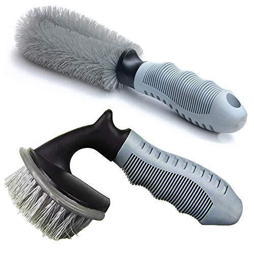 Linkhood 2-Pack Steel and Alloy Wheel Cleaning Brush, Rim Brush + Tire Brush Cleaner for Your Car, Motorcycle or Bicycle Tire Brush Washing Tool