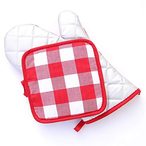 YUXINXIN Erwachsene Handschuhe Anti-Verbrühungs-Anti-Rutsch-Plus-Baumwolle Hochtemperatur-Mikrowellen-Dampfgarer Back Anti-Hot-Handschuhe (Color : Red, Size : L)