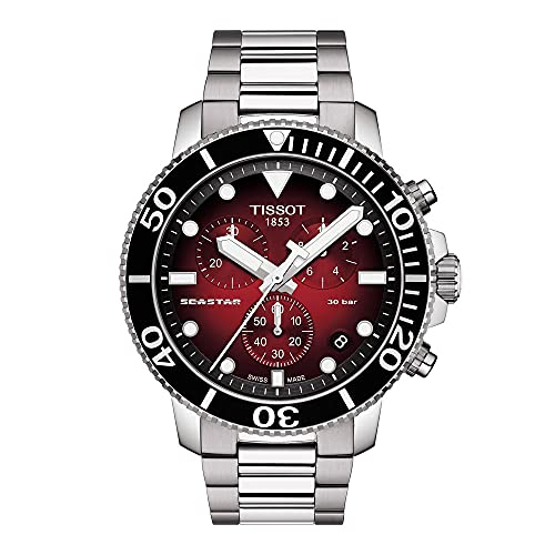 Tissot Seastar 660/1000 Correa de acero inoxidable de cuarzo suizo, gris, 22 reloj casual (Modelo: T1204171142100)