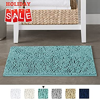 H.VERSAILTEX Non-Slip Microfiber Bath Rugs Chenille Floor Mat Ultra Soft Washable Bathroom Dry Fast Water Absorbent Bedroom Area Rugs, 17 x 24 - Inch, Duck Egg Shell Blue