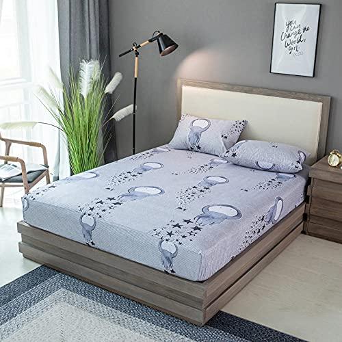 XGguo Protector de colchón Acolchado - Microfibra - Transpirable - Funda para colchon estira hasta Sábana Impermeable cepillada impresión en Color sólido-6_180x200x28cm