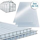Deuba Plaque de Polycarbonate Creux 10,25 m² (Soit 14 unités) | Plaques à Double...