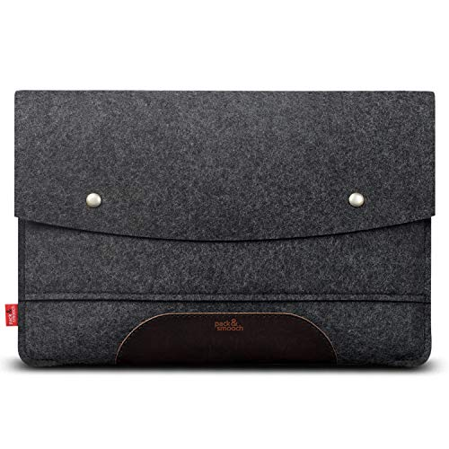 Pack und Smooch Hülle für MacBook Air 13 (Neustes Modell) Hülle Sleeve Hülle 100prozent Wollfilz Pflanzlich Gegerbtes Leder Handmade in Germany Anthrazit/Dunkelbraun
