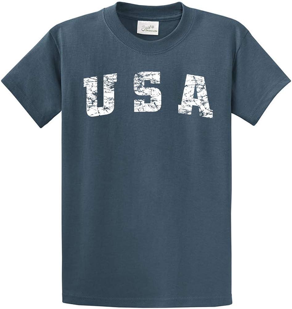 Joe's USA -Tall Vintage USA Logo Tee T-Shirts in Size Large Tall - LT Steel Blue