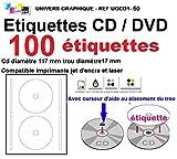 50 foglio 2 CD/DVD etichette Adesivi adesivo etichette diametro 117 mm Fogli stampanti laser e inkjet