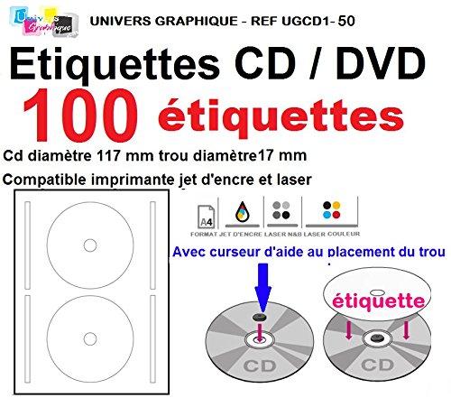 50 Blatt 2 CD/DVD-Etiketten Adhesives Klebe Durchmesser 117 mm Platten Laserdrucker und Tintenstrahldrucker Etiketten