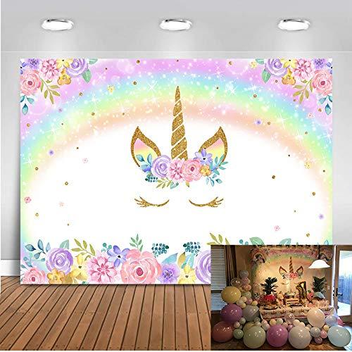 Mehofoto Fondo de Fiesta de cumpleaños con temática de Unicornio arcoíris, 7 x 5 pies, Fondo de fotografía de Unicornio de Vinilo Floral en Color de Agua para Banner de Fiesta de Baby Shower de niña
