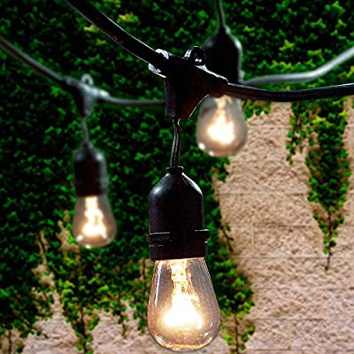 Lemontec Commercial Grade Outdoor String Lights with 15 Hanging Sockets - 48 Ft Black Weatherproof Cord Weatherproof Strand for Patio Garden Porch Backyard Party Deck Yard - S14 Black
