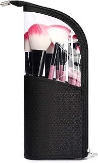 HaloVa Cosmetic Bag, Toiletry Bag, Makeup Brush Holder, Travel Brushes Cup Case, Artist Pencil Pen Case Dust-proof Storage Pouch, Black, Transparent