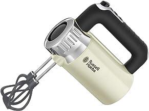 Russell Hobbs Handmixer Retro Vintage creme, 500W, 4 Geschwindigkeitsstufen plus Turbofunktion, 2 Helix-Rührbesen aus glasfaserverstärktem Nylon, 2 Knethaken, Handrührer 25202-56